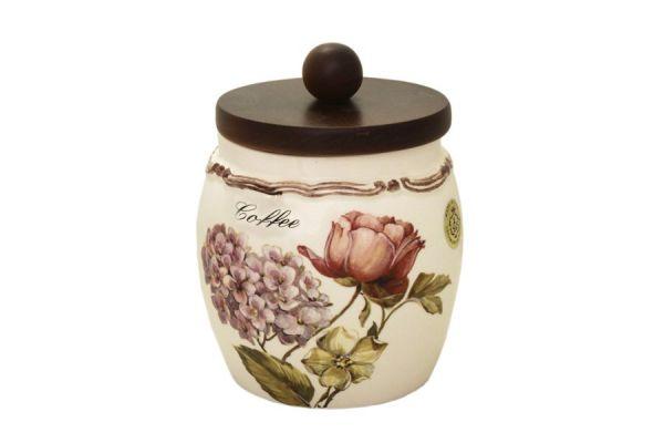 Банка для сыпучих продуктов с деревянной крышкой(кофе) Сады Флоренции, LCS010PLC-BO-AL