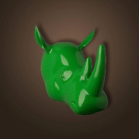 Декор ROOMERS «Голова носорога» цвет зеленый 4004-G