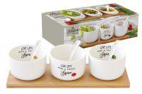 Набор для закуски: 3 салатника 8см с 3 ложками на подносе Kitchen Elements в подарочной упаковке, EL-R0851_KITE