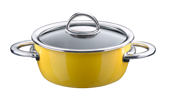 Кастрюля KOCHSTAR NEO эмалированная 2 л 18 см низкая 8,9 см со стеклянной крышкой цвет желтый 32608618