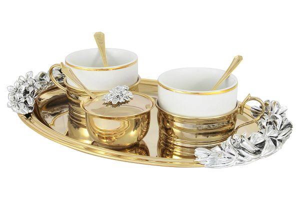 Чайный набор на 2 персоны: поднос, 2 чашки, 2 ложки, сахарница с ложкой, GA-VEN6007