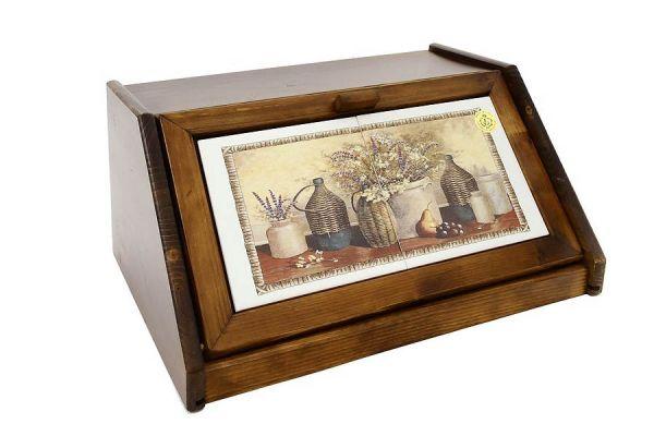 Деревянная хлебница с керамическими вставками Натюрморт, LCS994V-AL