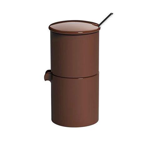 Набор LOVERAMICS сахарница, молочник и ложечка цвет коричневый C098-48ABR