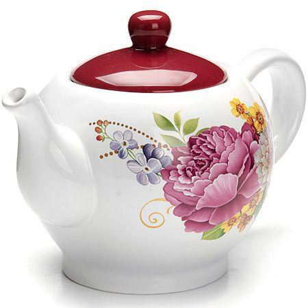 Заварочный чайник Loraine «Букет» 950 мл со стеклянной крышкой 26226