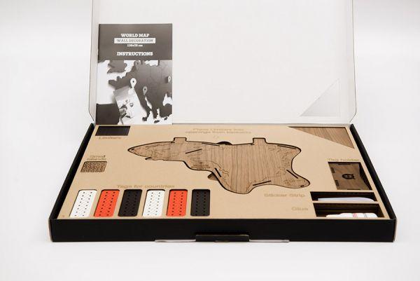 Карта-пазл Wall Decoration Exclusive, 280х170 см, американский орех 19-17
