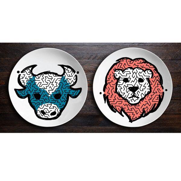 Набор тарелок «ЗооЛаб» Бык/Лев O001