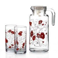 Набор Pasabahce SERENADE кувшин и 4 стакана красные 95895BD3