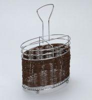 Подставка для столовых приборов хромированный металл и плетеный бамбук Mayer&Boch, 8634