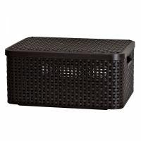 Корзина RATTAN STYLE BOX M + крышка тёмно-коричневая