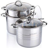 Набор посуды 6 предметов 8,6+10,6+12,9л с крышкой, Mayer&Boch, 26700