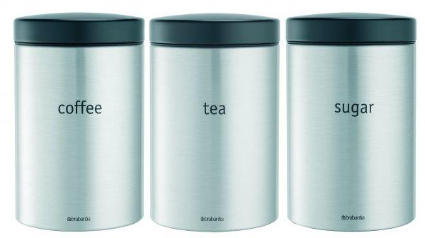 Набор контейнеров Brabantia 3 предмета 1,4 л цвет матовый стальной с защитой от отпечатков пальцев 314926