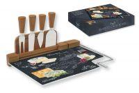 Набор для сыра: разделочная доска (стекло) + 4 ножа Мир сыров, R2S810_WOCH-AL