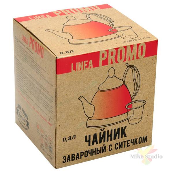 Чайник заварочный 0,8л с ситечком Linea PROMO Regent Inox 94-1508