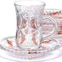 Чайный набор 12 предметов из стекла, золото LORAINE, 27089