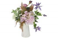 Декоративные цветы Dream Garden Букет клематисы сиреневые и гортензии в керамической вазе DG-B1703