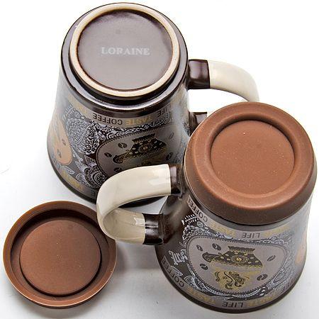 Кружка Loraine 360 мл с сиконовой подставкой из керамики 23554