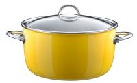 Кастрюля эмалированная высокая, объем 6,1 л, диаметр 26 см, высота 14,5 см, цвет желтый, со стеклянной крышкой, серия NEO, KOCHSTAR
