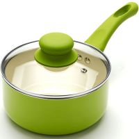 Ковш зеленого цвета 16 см, 1,5 л покрытие из керамики, с крышкой и с ручкой из силикона, Mayer&Boch, 21959N3