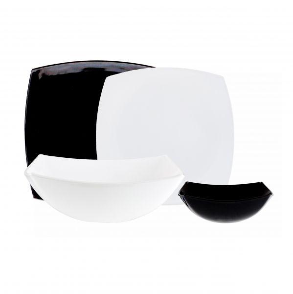 Столовый набор 18 предметов КВАДРАТО черно-белый + салатник 24 см белый (бесплатно)