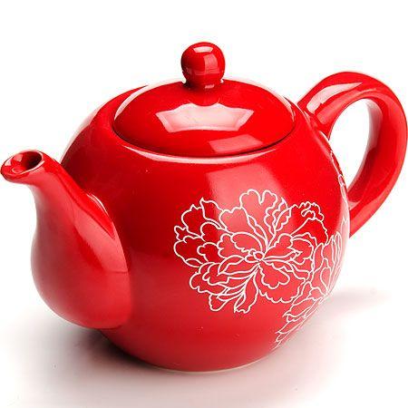 Заварной чайник Loraine «Красный узор» 950 мл с крышкой цвет красный, белый 25839