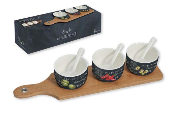 Набор для закуски Easy Life (R2S) 3 чаши (8 см) с ложками, поднос R2S894_WOPA-AL