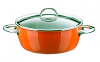 Кастрюля эмалированная низкая, объем 4,8 л, диаметр 22 см, высота 10 см, цвет оранжевый, со стеклянной крышкой,, серия NEO, KOCHSTAR