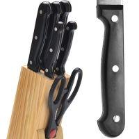 Набор ножей Mayer&Boch 7 предметов на подставке с ножницами цвет ручек черный 27423