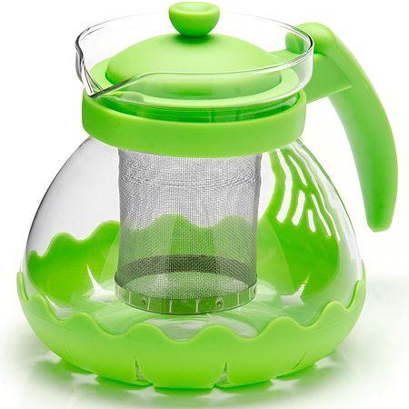 Заварочный чайник Mayer&Boch из стекла 700 мл с фильтром зеленого цвета 26173-3