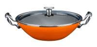 ВОК эмалированный 30 см KOCHSTAR NEO со стеклянной крышкой, оранжевый