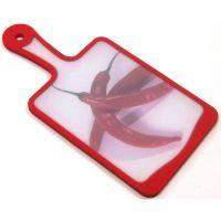 Кухонная доска MICROBAN FLUTTO 35x18 см красная с рисунком «красный перец» FP-RC