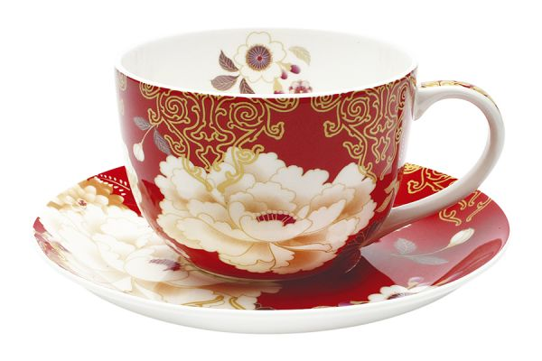Чашка с блюдцем Кимоно (красный) в подарочной упаковке, MW637-PK0413