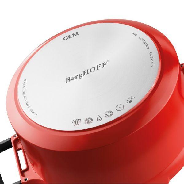 Сотейник BergHOFF Gem red 3,3 л 24 см с крышкой 2307404
