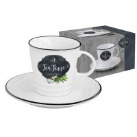 Чашка с блюдцем Кухня в стиле Ретро (чай) в подарочной упаковке, EL-R1601/KIBT