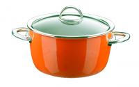 Кастрюля эмалированная высокая, объем 4,8 л, диаметр 22 см, высота 13,6 см, цвет оранжевый, со стеклянной крышкой, серия NEO, KOCHSTAR