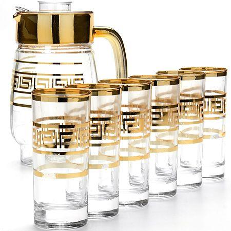 Набор стаканов Loraine 6 шт с графином цвет прозрачный с золотым 24063