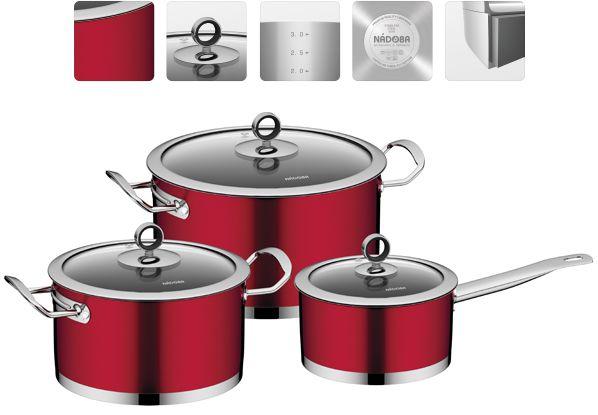 Набор наплитной посуды NADOBA CERVENA 6 предметов из нержавеющей стали 726518