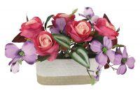 Декоративные цветы Dream Garden Розы малиновые с сиреневыми цветами в керамической вазе DG-J7526