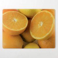 """Разделочная доска, стеклянная прямоугольная, 30*40 см """"Апельсины"""""""