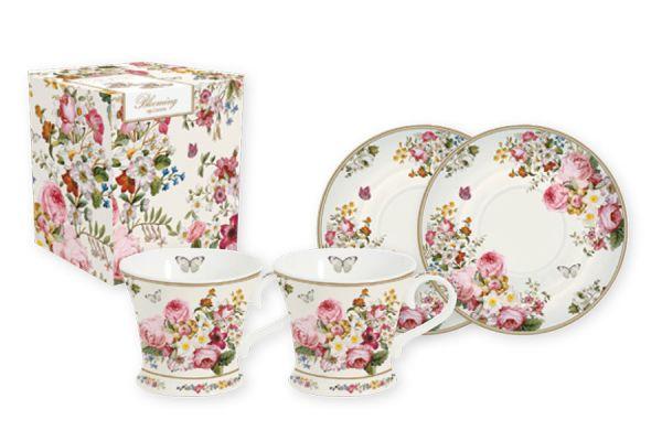 Набор: 2 чашки + 2 блюдца для кофе Цветочный карнавал (белый)