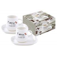 Набор: 2 чашки + 2 блюдца для кофе Kitchen Elements в подарочной упаковке, EL-R1905/KITE