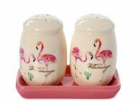"""Набор для специй солонка/ перечница """"Фламинго"""" на керамической подставке"""