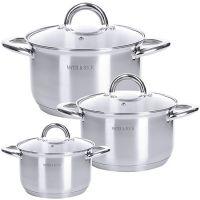 Набор посуды Mayer&Boch 6 предметов 2,1 л, 2,9 л, 3,9 л с крышками 29051