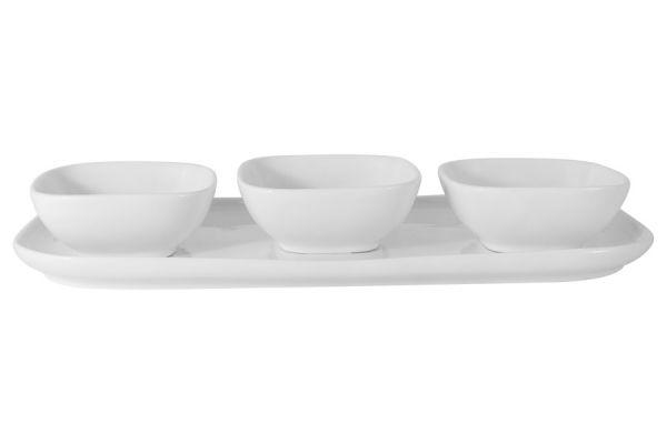 Набор Maxwell & Williams Форма: тарелка и 3 салатника цвет белый в подарочной упаковке MW655-AW0395