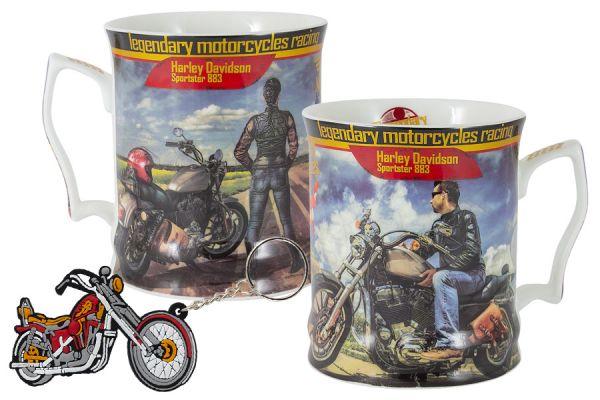 Кружка с брелоком Мотоцикл Харлей - Дэвидсон Спортстер 883, юноша