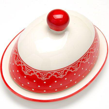 Маслёнка Loraine «Красный узор» 2 л 25811