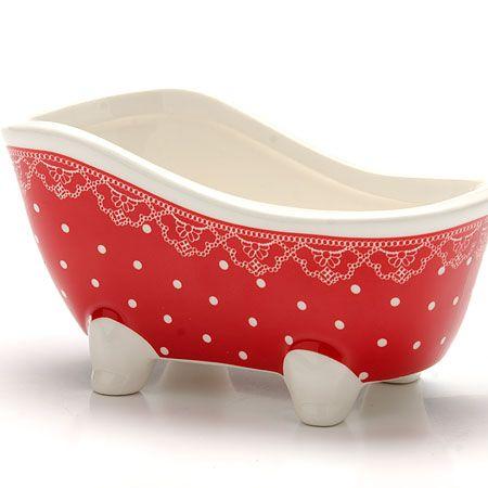 Подставка для губки Loraine «Красный узор» 150 мл цвет красный с белым 25818