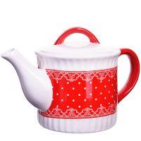 Заварной чайник Loraine «Красный узор» 730 мл с крышкой 25822