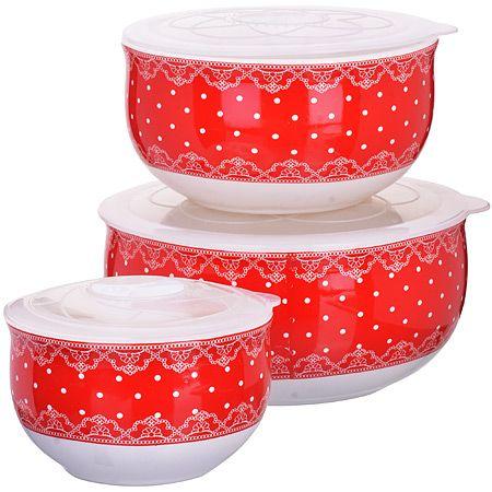 Набор мисок Loraine из 6-ти предметов 300 мл, 600 мл, 900 мл с крышками цвет красно-белый 25826