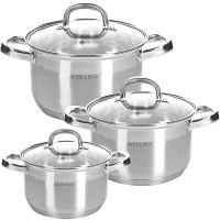 Набор посуды Mayer&Boch 6 предметов 2 л, 2,5 л, 3,5 л с прозрачными крышками 28805