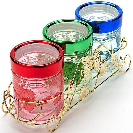 Набор стеклянных банок Mayer&Boch 3 предмета в подставке из металла 3810